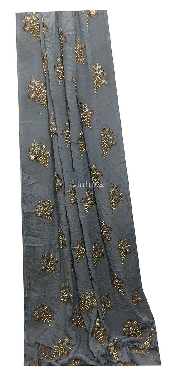 fabric online india blouse material online Embroidery Viscose Chinnon Grey 44 inches Wide 9210