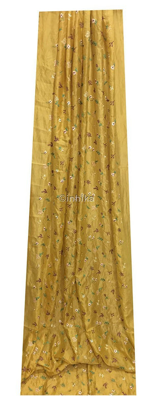 white embroidered fabric churidar running material online shopping Embroidery Cotton Chanderi Mustard yellow, Green, light pink, voilet, beige 43 inches Wide 9174