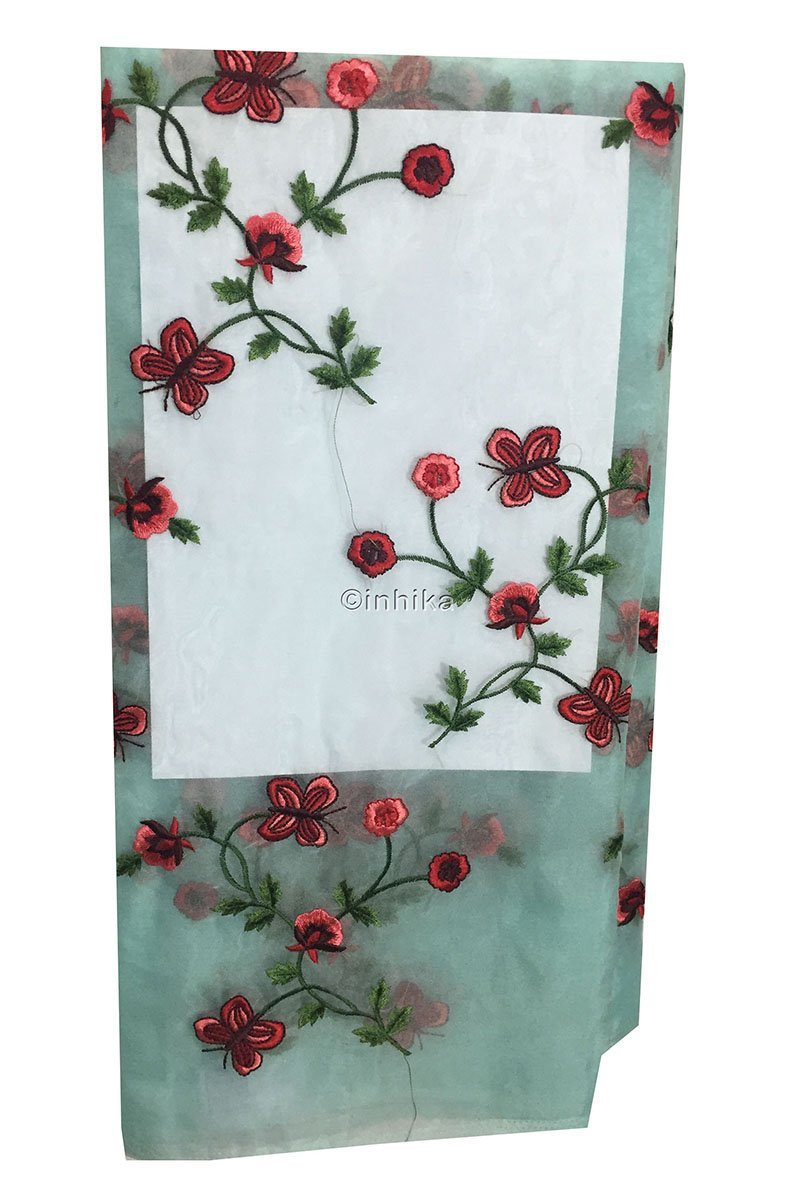 churidar running material online shopping buy embroidery material online india Organza / Tissue Blue, Red, Pink, Maroon, Green 43 inches Wide 9169