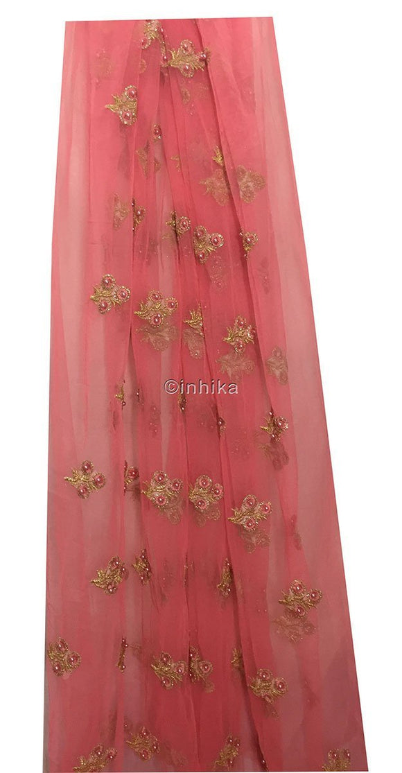 embroidered fabric for dresses dress material online Embroidery Net, Mesh, Tulle Pink Peach 44 inches Wide 9228