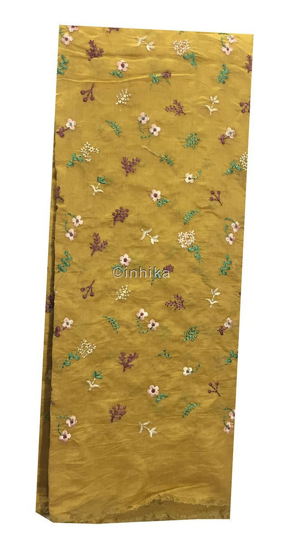 embroidery designs dress material online churidar running material online shopping Embroidery Cotton Chanderi Mustard yellow, Green, light pink, voilet, beige 43 inches Wide 9174