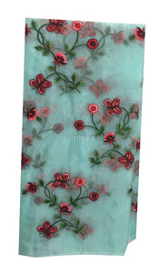 fabric cloth online india buy embroidery material online india Organza / Tissue Blue, Red, Pink, Maroon, Green 43 inches Wide 9169