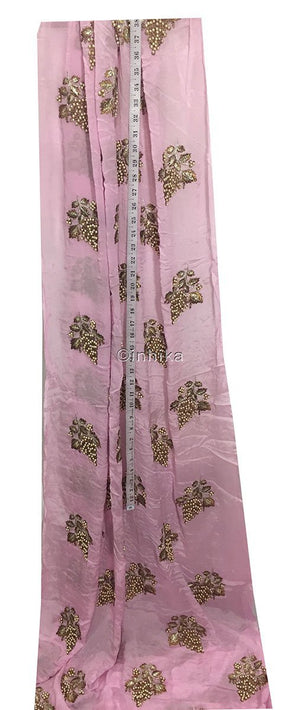 embroidery designs for dress material designer blouse material Embroidery Viscose Chinnon Light Pink 44 inches Wide 9211