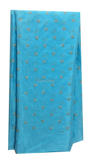 plain embroidery fabric fabric shop online india Embroidery Crepe Powder Blue, Silver Sequins 39 inches Wide 9176