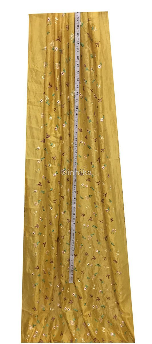 indian fabric store churidar running material online shopping Embroidery Cotton Chanderi Mustard yellow, Green, light pink, voilet, beige 43 inches Wide 9174