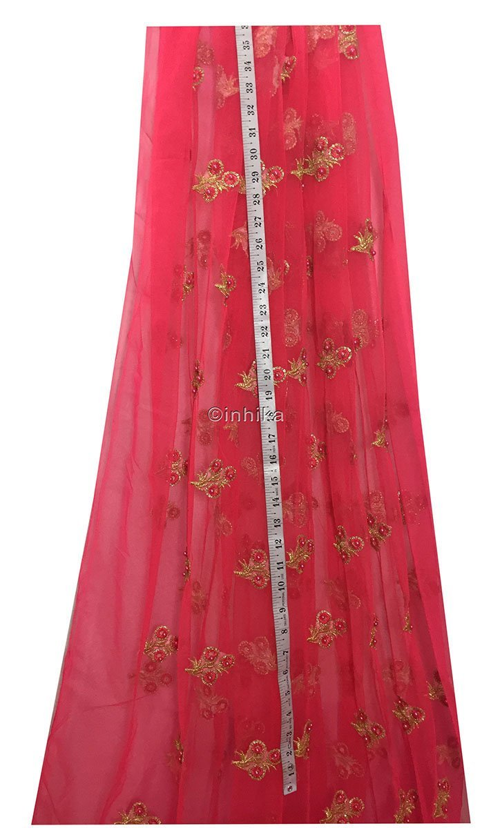 buy designer fabric online india unstitched blouse material online Embroidery Net, Mesh, Tulle Carrot Pink 44 inches Wide 9230
