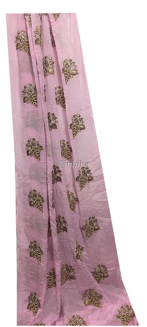 embroidery materials buy online designer blouse material Embroidery Viscose Chinnon Light Pink 44 inches Wide 9211