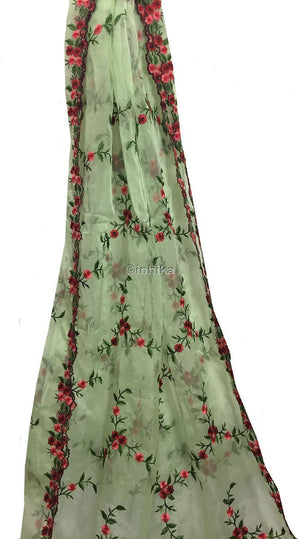 blouse material online shopping buy kurti fabric online Embroidery Organza / Tissue Green, Pink, Red, Maroon 39 inches Wide 9171
