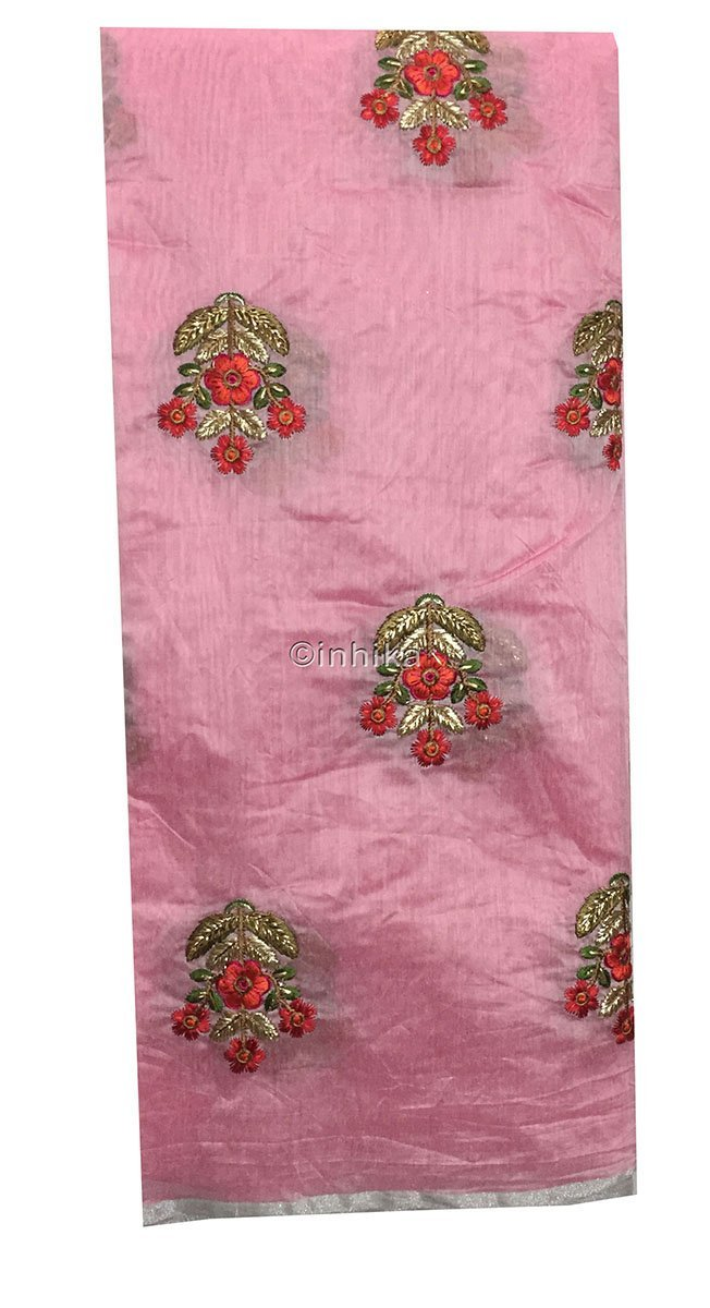 embroidery beads online lace material online india Embroidery Cotton Chanderi Baby Pink, Red, Orange, Green, Gold, Pink 42 inches Wide 9186