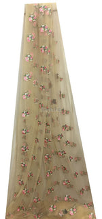 embroidery material online shopping india dress material Embroidery Net, Mesh, Tulle Beige 44 inches Wide 9226