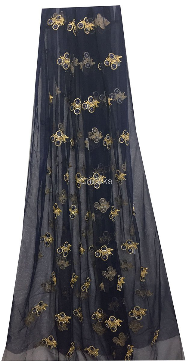 designer blouse fabric online dress materials online shopping Embroidery Net, Mesh, Tulle Navy Blue 44 inches Wide 9229