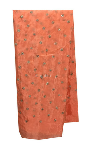blouse fabric online shopping india running material online shopping india Embroidery Crepe Peach, Silver Sequins 39 inches Wide 9180