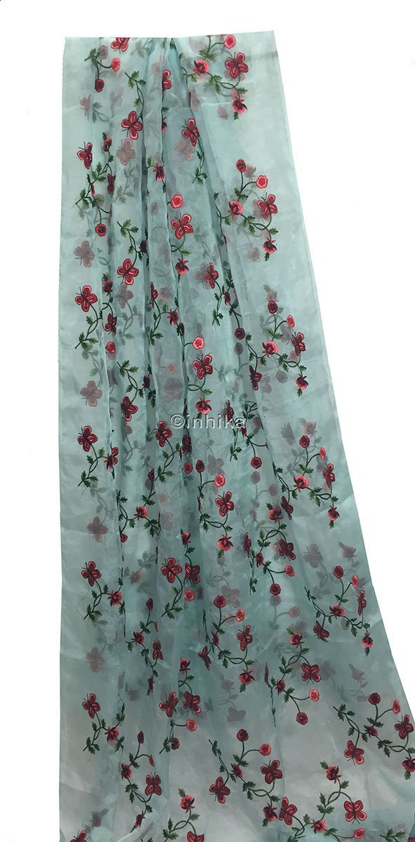 fabric material online shopping india buy embroidery material online india Organza / Tissue Blue, Red, Pink, Maroon, Green 43 inches Wide 9169