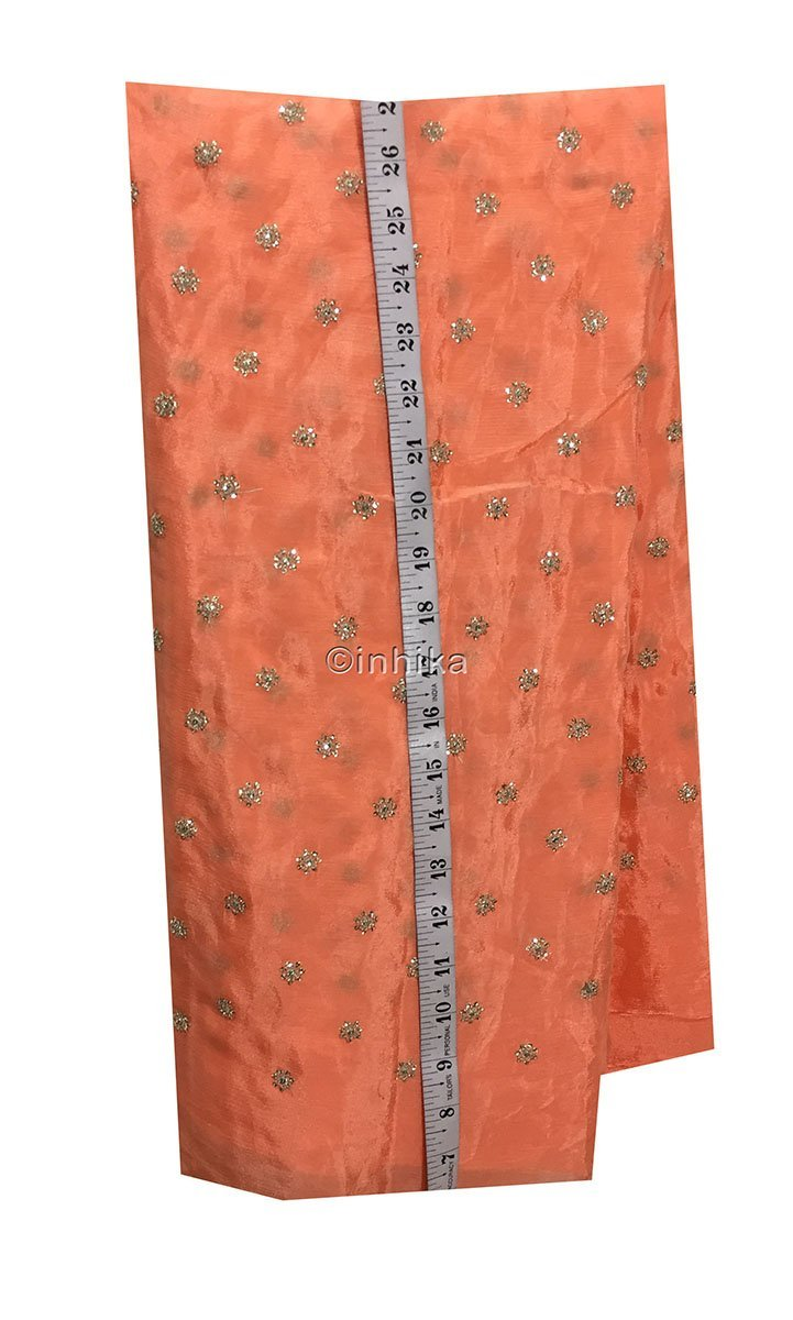 fabric sale online india running material online shopping india Embroidery Crepe Peach, Silver Sequins 39 inches Wide 9180
