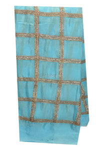 saree work materials raw cloth material online Embroidery Chiffon Sky Blue, Copper 43 inches Wide 9187