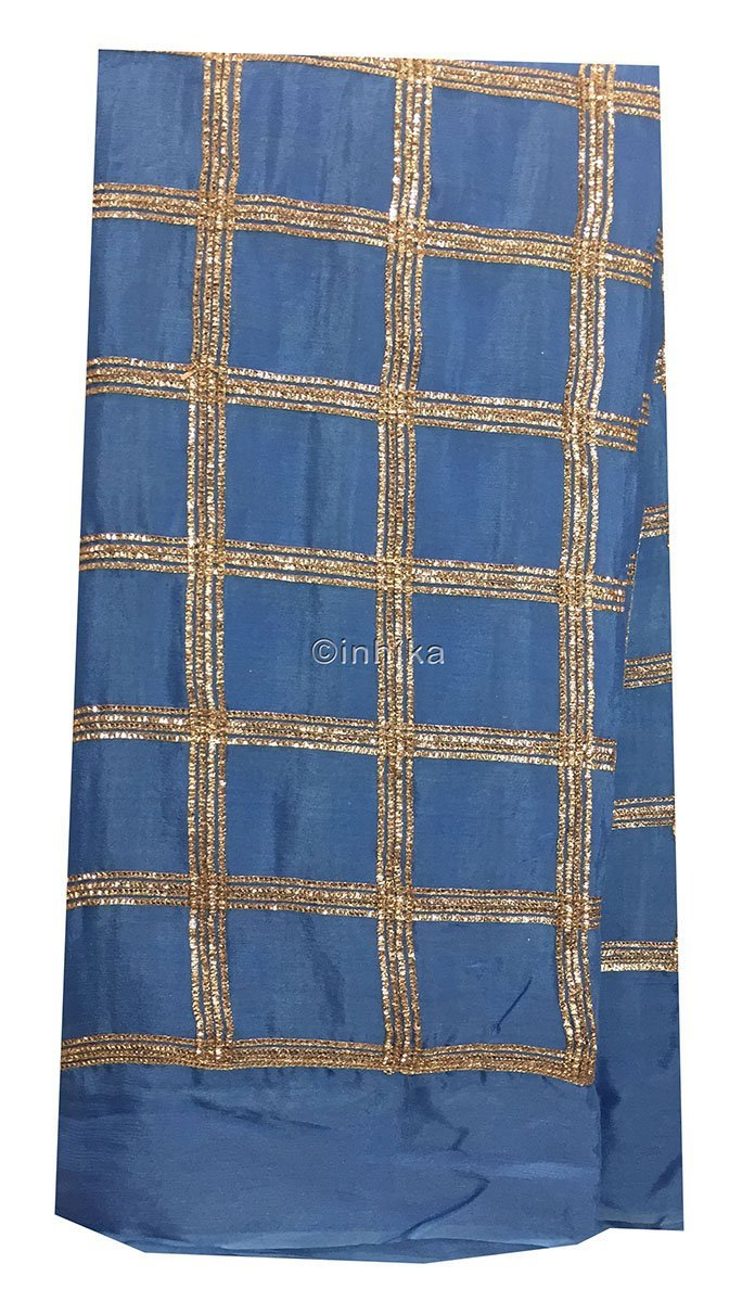 material online shopping designer fabric india Embroidery Chiffon Cobalt Blue, Copper 43 inches Wide 9190