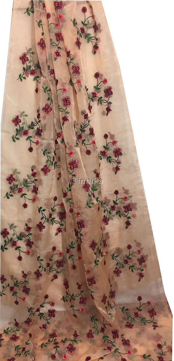 plain cloth online stitching material online Embroidery Organza / Tissue Peach, Red, Pink, Maroon, Green 43 inches Wide 9168