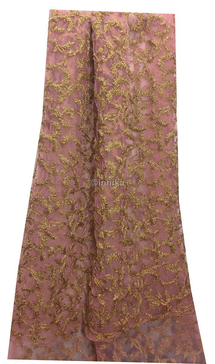 kutch embroidery fabric online fabric online india Embroidery Net, Mesh, Tulle Pink 44 inches Wide 9215