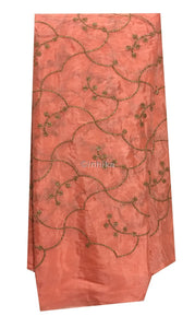 buy dress fabric online india buy fabric material online india Embroidery Chiffon Peach, Gold 42 inches Wide 9197