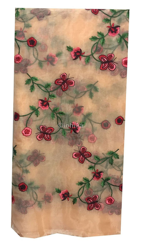 crochet materials online india stitching material online Embroidery Organza / Tissue Peach, Red, Pink, Maroon, Green 43 inches Wide 9168