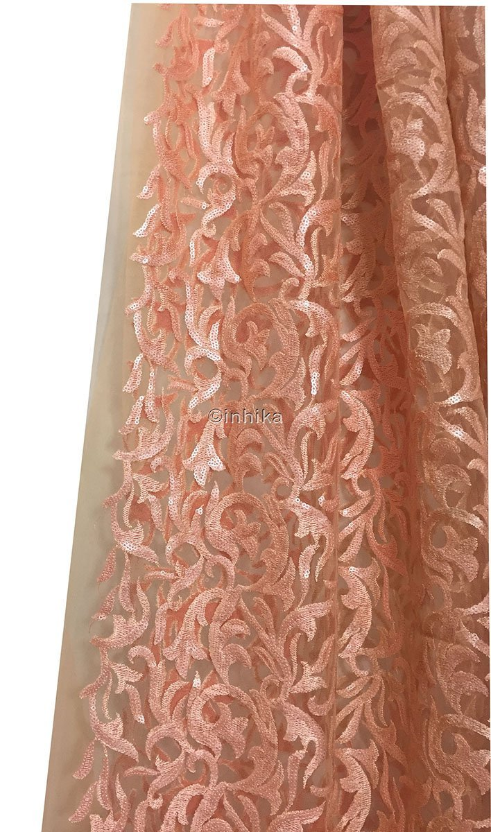 buy saree blouse material online dress materials online shopping Embroidery, Sequins Net, Mesh, Tulle Peach Orange 44 inches Wide 9213