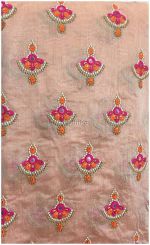 white cloth material online india embroidery blouse material online Cotton Chanderi Light Peach, Orange, Pink, White, Gold 42 inches Wide 9181