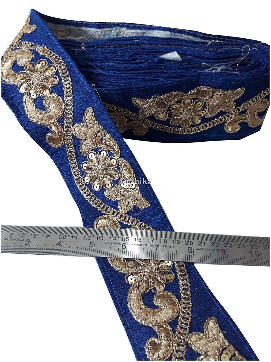 lace trim fabric where to buy fringe for clothing Royal Blue, Embroidery, Sequins, 3 Inch Wide material Cotton Mix