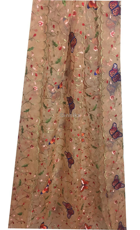 cloth material online india fabric sale online india Embroidery Organza / Tissue Peach, Blue, Pink, Red, Green, Beige 38 inches Wide 9166