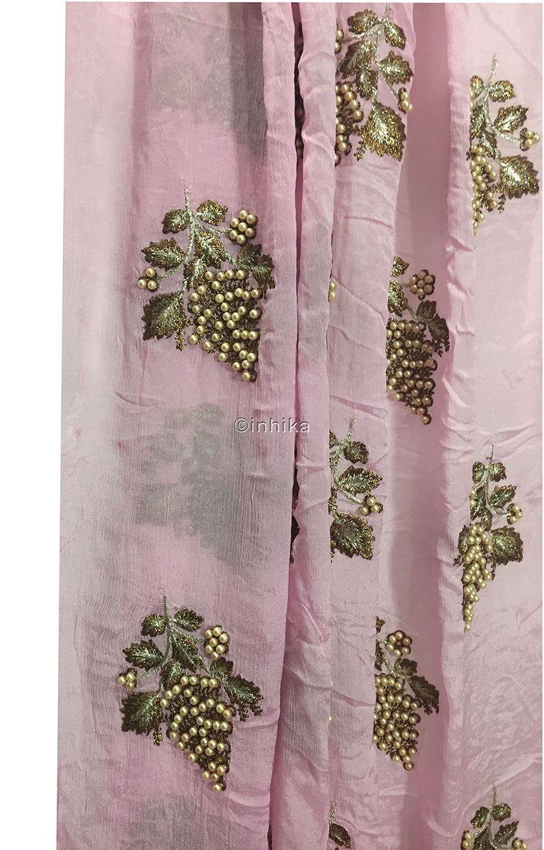 buy embroidered fabric online designer blouse material Embroidery Viscose Chinnon Light Pink 44 inches Wide 9211