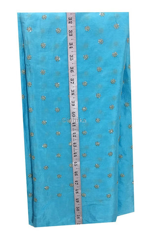 embroidery fabric designs fabric shop online india Embroidery Crepe Powder Blue, Silver Sequins 39 inches Wide 9176