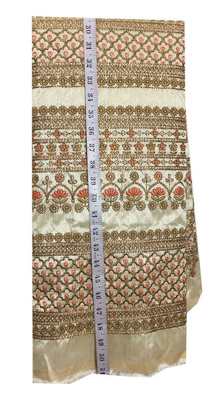 fancy embroidered fabrics fabric online india Embroidery Dupion Cream, Gold, Peach, Copper 43 inches Wide 9201