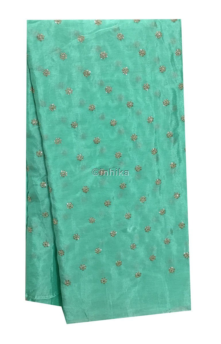material online shopping white cloth material online india Embroidery Crepe Sea Green, Silver Sequins 39 inches Wide 9178