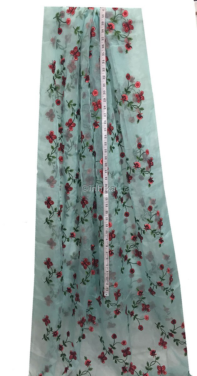 embroidery material online shopping india buy embroidery material online india Organza / Tissue Blue, Red, Pink, Maroon, Green 43 inches Wide 9169