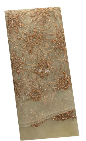 dress fabric online india blouse material online shopping india Embroidery Net, Mesh, Tulle Beige, Gold 45 inches Wide 9095