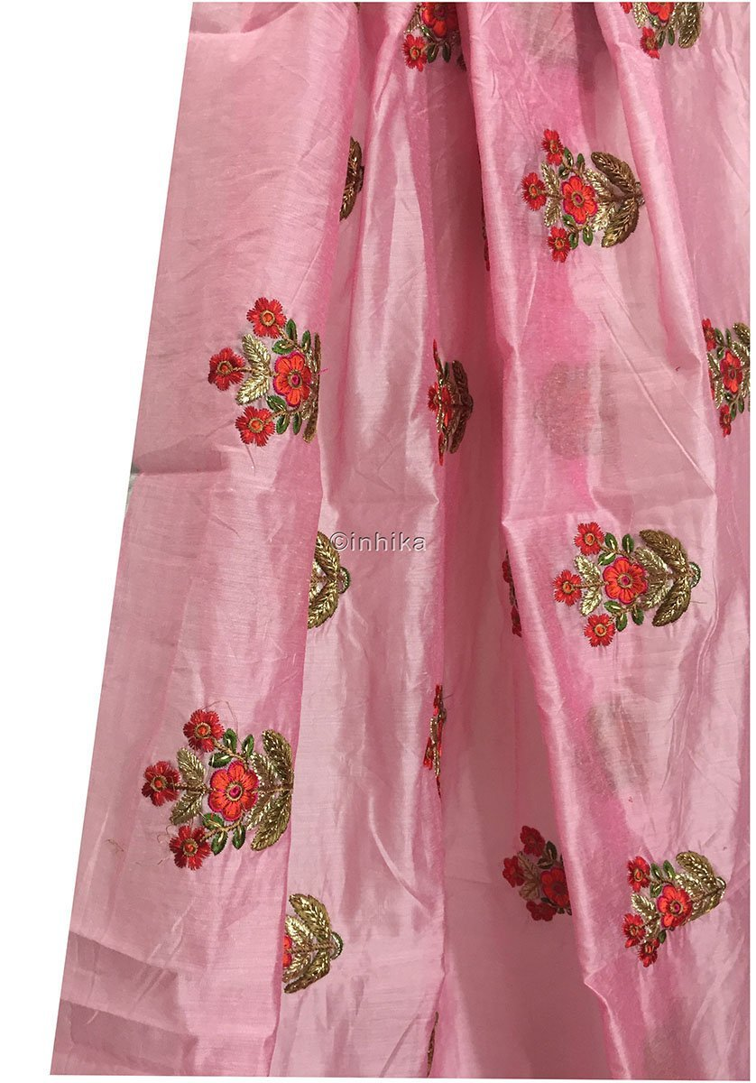 buy lace fabric online india lace material online india Embroidery Cotton Chanderi Baby Pink, Red, Orange, Green, Gold, Pink 42 inches Wide 9186