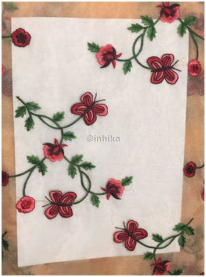 kurta fabric online india stitching material online Embroidery Organza / Tissue Peach, Red, Pink, Maroon, Green 43 inches Wide 9168