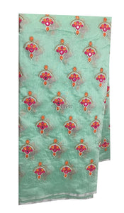 designer fabric india indian beaded fabric buy online Embroidery Cotton Chanderi Light Sea Green, Orange, Pink, White, Gold 42 inches Wide 9182