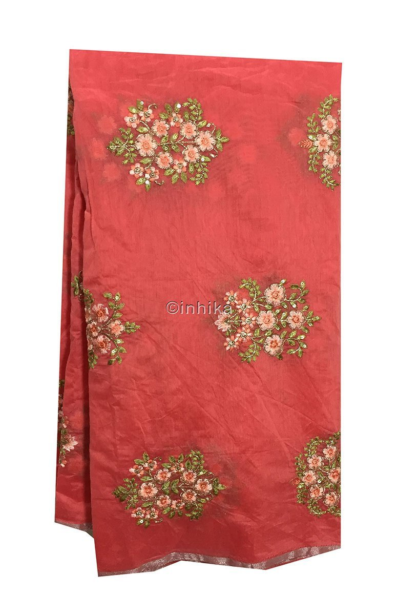 running material online india buy material online india Embroidery Chanderi Silk Peach Pink, Green 43 inches Wide 9096