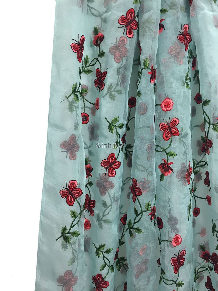 white cloth material online india buy embroidery material online india Organza / Tissue Blue, Red, Pink, Maroon, Green 43 inches Wide 9169