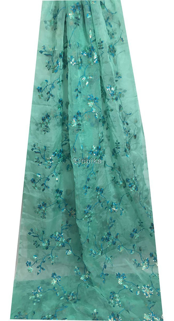 embroidery material suppliers dress material online Embroidery Organza, Tissue Sea Green, Gold, Peacock Blue 41 inches Wide 9198