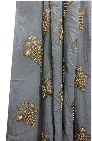 Image of blouse piece materials online blouse material online Embroidery Viscose Chinnon Grey 44 inches Wide 9210