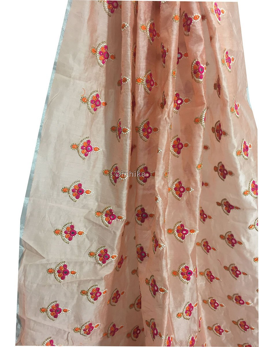running material online shopping india embroidery blouse material online Cotton Chanderi Light Peach, Orange, Pink, White, Gold 42 inches Wide 9181