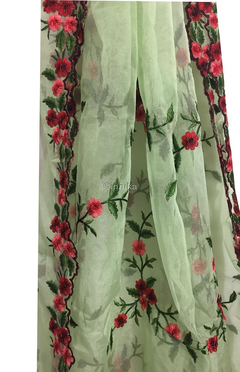 blouse fabric online buy kurti fabric online Embroidery Organza / Tissue Green, Pink, Red, Maroon 39 inches Wide 9171
