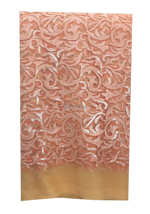 buy fabric online wholesale india dress materials online shopping Embroidery, Sequins Net, Mesh, Tulle Peach Orange 44 inches Wide 9213