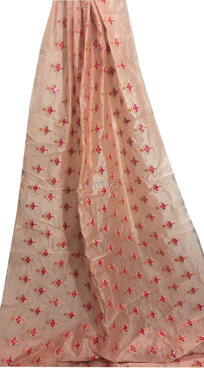 indian fabric shop embroidery blouse material online Cotton Chanderi Light Peach, Orange, Pink, White, Gold 42 inches Wide 9181