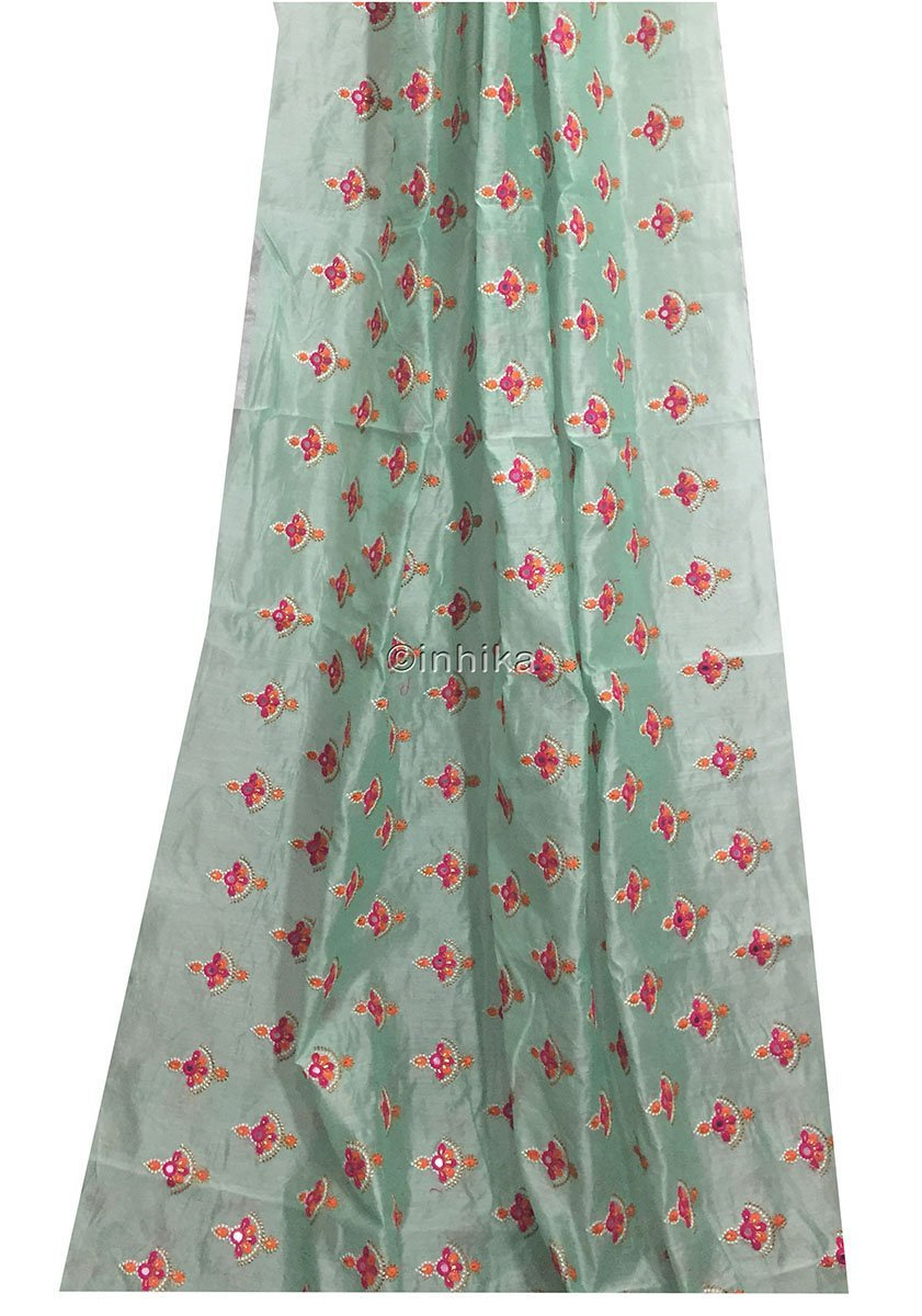 ethnic material online shop indian beaded fabric buy online Embroidery Cotton Chanderi Light Sea Green, Orange, Pink, White, Gold 42 inches Wide 9182