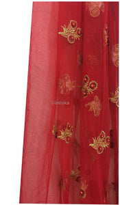 Kurti Material Blouse Fabric By Meter Soft Red Net Gold Embroidery