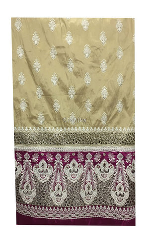 fancy embroidered fabrics indian dress fabric material Embroidery Taffeta Beige, Magenta, Light Gold, White 54 inches Wide 9165