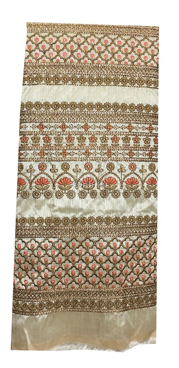 embroidery items online fabric online india Embroidery Dupion Cream, Gold, Peach, Copper 43 inches Wide 9201