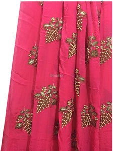 embroidery material online shopping embroidery fabric Viscose Chinnon Dark Pink 44 inches Wide 9209